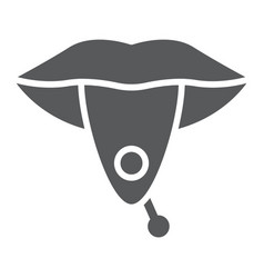 Tongue piercing glyph icon jewellery and vector