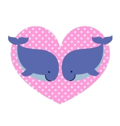 Two whales in love and big dotted heart vector image