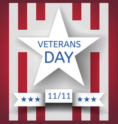 Veterans day banner with a white star and a ribbon vector