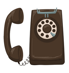 vintage telephone with rotary system dialing vector image