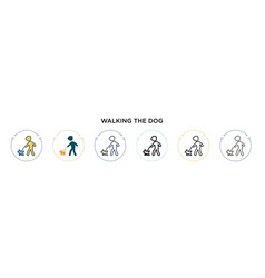 Walking dog icon in filled thin line outline vector