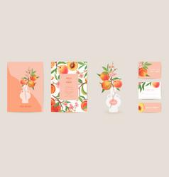 Wedding invitation peach card vintage vector