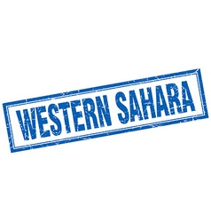 Western Sahara blue square grunge stamp on white vector