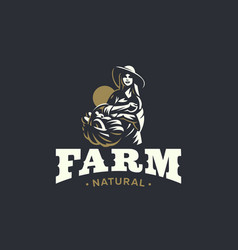 Woman farmer with basket of vegetables and fruits vector
