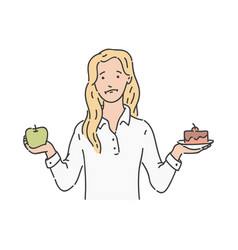 Woman makes choise green apple cake vector