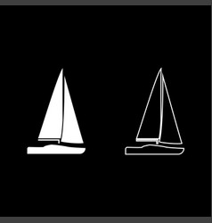 yacht icon set white color flat style simple image vector image