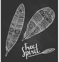 Zentangle tribal feathers set on the chalkboard vector