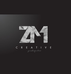 Zm z m letter logo with zebra lines texture vector