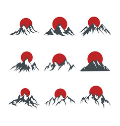 mountains with red sun isolated on white vector image
