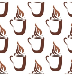 Seamless pattern of a mug of steaming hot coffee vector image