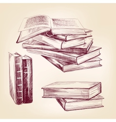 vintage old books hand drawn set vector image