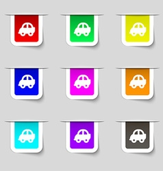 Auto icon sign Set of multicolored modern labels vector image vector image