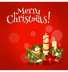 Christmas candle floral arrangement greeting card vector image vector image