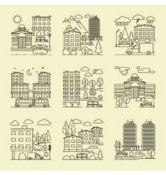 City linear style landscapes vector image vector image