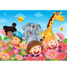 Kids with animals vector image vector image