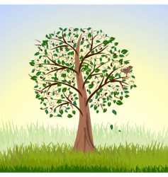 tree at sunrise vector image
