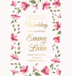 wedding invitation card template pink gypsophila vector image vector image