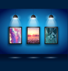 Spotlights Wall with Low Poly Arts vector image vector image