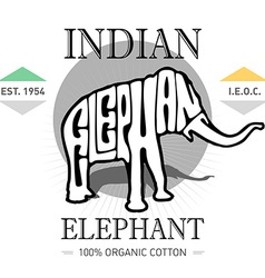 vintage label with elephant for T-Shirt Print vector image vector image