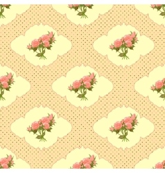 Vintage seamless pattern with roses and dots vector image