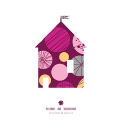 Abstract textured bubbles house silhouette pattern vector