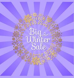 big winter sale inscription gold ornamental frame vector image