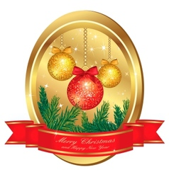 christmas gold frame vector image vector image