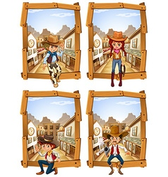 Four scenes of cowboys and cowgirl vector