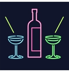 Neon cocktail glasses and bottle vector image vector image