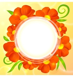 Orange realistic flowers round background vector image vector image