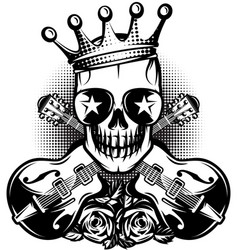 pattern with guitar skull crown for concert vector image vector image