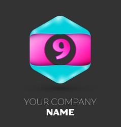 Realistic number nine symbol in colorful hexagonal vector