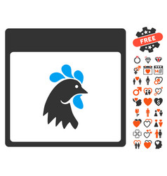 rooster head calendar page icon with dating bonus vector image