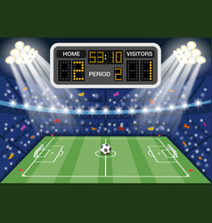 soccer stadium with scoreboard vector image