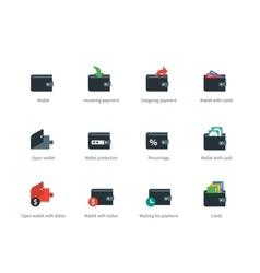 Wallet and transaction color icons on white vector image