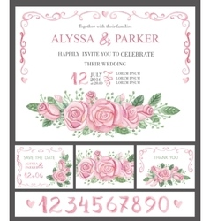 Wedding invitation cards setwatercolor pink roses vector