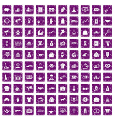 100 charity icons set grunge purple vector