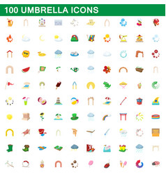 100 umbrella icons set cartoon style vector image