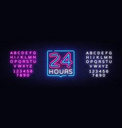24 hours neon sign design template 24 vector