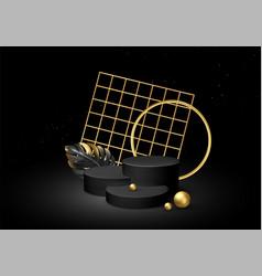 3d realistic black pedestal on a black silk vector image