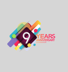 9 years anniversary colorful design with circle vector