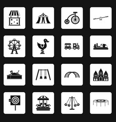 amusement park icons set squares vector image