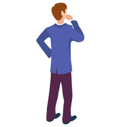 Back view male character thinking about business vector