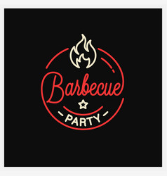 Barbecue party logo round linear logo bbq vector