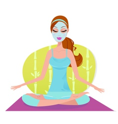 Beautiful meditating yoga woman with facial mask vector