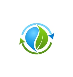 bio recycle green leaf logo vector image