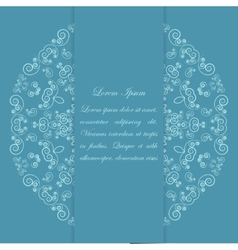 Blue card design with ornate pattern vector image