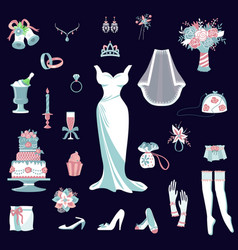 Bride accessories set wedding items vector