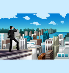 Businessman standing on a rooftop vector