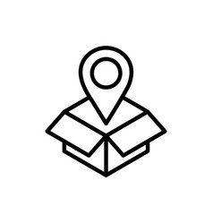 cardboard box pointer location delivery icon thick vector image